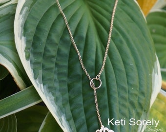Lariat Monogram Necklace - Small to Medium Initials (Order Your Initials) - Sterling Silver with Rose Gold