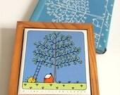 Vintage 1984 Lillian Vernon Seasonal Wall Hanging/ Tile Trivet, Spring Illustration, 5 x 5, Home Decor, Spring Tree, CabinWinter