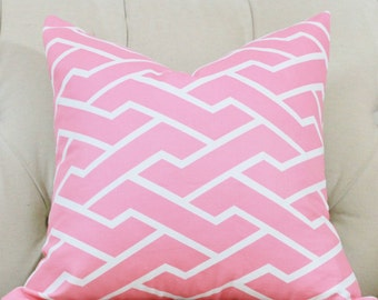 Caitlin Wilson Pillow - Pink City Maze Pillow Cover-  Pink and White Geometric Pillow  - Throw Pillow Pink Home Decor - Zig Zag