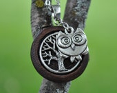 Wood Round Frame with Metal Tree and Owl Pendent  Necklace