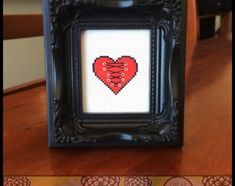 Corset Heart Printable Cross Stitch Pattern (PDF) - Immediate Download from Etsy - Burlesque & Sexy Unique Needle Craft