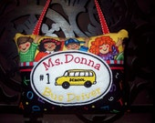 Personalized BUS DRIVER Mini Pillow Door Knob Hanger