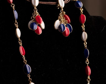 Vintage Red White and Blue Necklace and Vintage Earring Set in  Marked West Germany