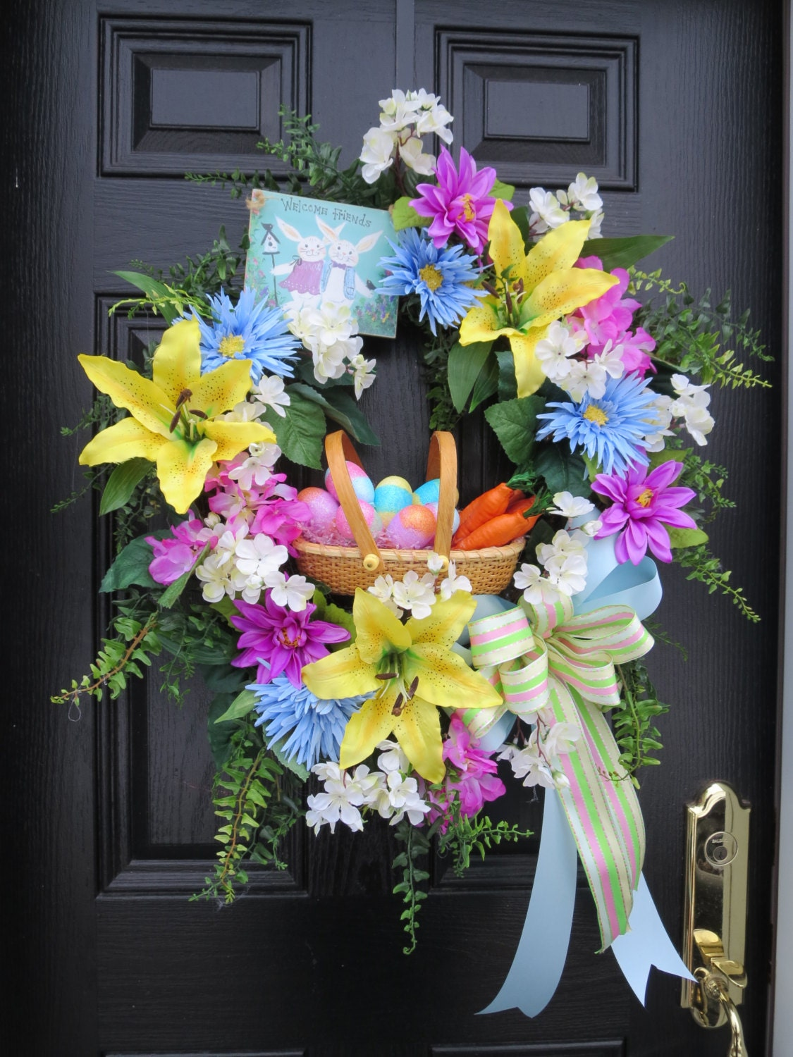 Easter Door Wreath Easter Wreath Easter Basket With Eggs And