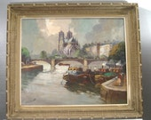 "Edouard Le Saout ""Light Over Notre Dame"" Paris Seine River, Framed Oil Painting, Realism,"