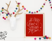 INSTANT DOWNLOAD, Christmas Printable, Let Every Heart Prepare Him Room, Chalkboard, Handwritten, No. 243