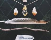 Lakshmi Amulet - Gold Dipped Citrine Quartz Necklace
