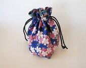 Drawstring Makeup Bag - Pink Sakura Blossoms & Navy - Japanese Fabric - Asian Fabric - Makeup Pouch - Cosmetic Bag - Adorable Little Bag