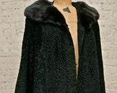 60s Black Broadtail Lamb Jacket with Mink Fur Collar