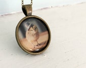 Baby Animal Jewelry Photo Pendant Necklace of A Chicken Wearing a Miniature Top Hat Chicks in Hats