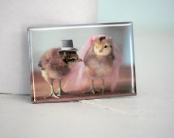Chicken Wedding Chicks in Veil And Hat Rigid Rectangle Refrigerator Magnet
