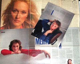 MERYL STREEP ~ Kramer vs Kramer, Sophie's Choice, Silkwood, Death Becomes Her, Florence Foster Jenkins ~ Color and B&W Articles fm 1981-1987