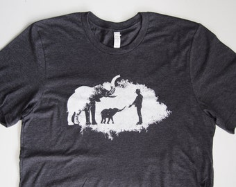 50% OFF - Elephant Awareness Design Screenprinted in White on a Heathered Charcoal (Dark Gray) Colored Tshirt