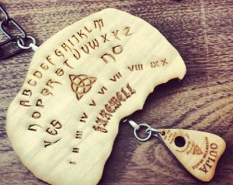 OUIJA & PLANCHETTE Wood Necklace Pendant Laser cut and Laser Engraved