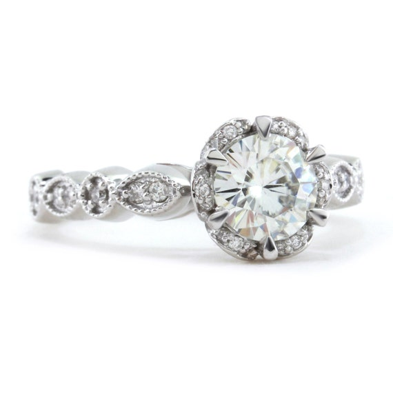 vintage halo engagement ring moissanite center and