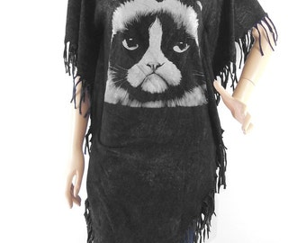 Cat Grumpy tshirt Maxi Dress cat tank kitten cool teen girl bleached tshirt black shirt screen print (Measurements - fits great from S - M)