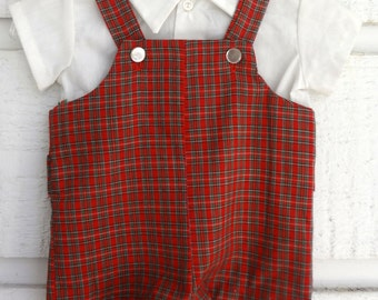 Vintage Baby Boy Red plaid Romper and white shirt- Size 6 months-  New, never worn