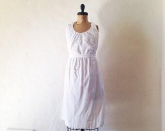 Vintage Antique Edwardian White Linen Apron