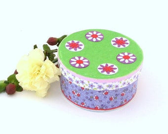 Springtime Mini Round Trinket Box in lavender, green, red