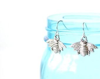 Bee Earrings - Dangle - Bee - Nature
