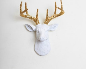 Mini Deer Head Wall Mount - The Mini Winston by White Faux Taxidermy / Him Her & Couples Gift Ideas White W/ Gold Glitter Antlers Wall Art