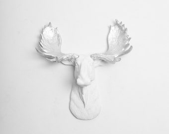 Faux Moose Head - The MINI Adobe - Resin Moose Head Wall Mount W/ Silver Antlers - Faux Animal Heads by White Faux Taxidermy Wall Decor