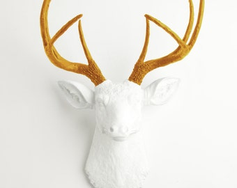 Faux Taxidermy - The Blanche - White W/ Mustard Yellow Antlers Resin Deer Head Mount - Stag Resin by White Faux Taxidermy Animal Wall Decor