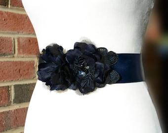 Navy Pure Silk Flower Bridal Sash, Navy Satin Sash. Navy Bridal Applique for Dress.