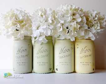 Rustic Home Decor / Mason Jars / Table Decor / Centerpiece / Vase / Yellow Green / Quart size wide mouth / summer / set of 4