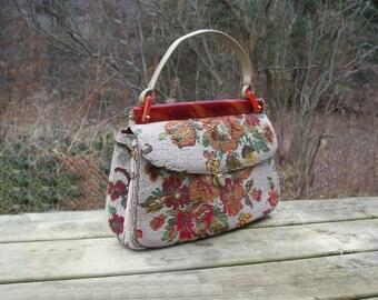 Empress Floral Carpet Bag Purse Handbag Petit Point • Needle Punch • Needle Point • Vintage Retro