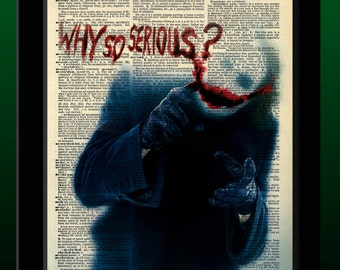Batman Inspired Joker 'Why So Serious' Vintage Dictionary Print