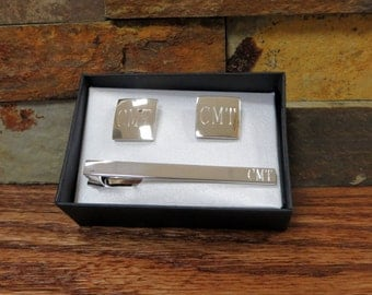 Personalized Tie Clip with Cuff Links - Gifts for Dad - Husband- Groomsmen (CUT-12)