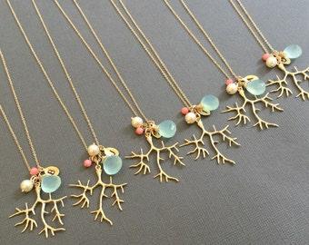 Bridesmaids necklaces, Beach Wedding , Coral branch Necklace, Hand Stamped necklace, Coral branch jewelry, bridesmaid jewelry