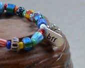 BFF Best Friend Bracelet Boho Beads Hippie Multicolor Friends Forever Silver Daisy Bohemian Stacking Jewelry Friendship Chic Free Shipping