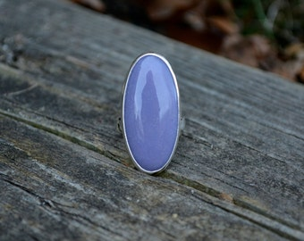 Sale - Purple Chalcedony Ring, Chalcedony Ring, Sterling Silver, Chalcedony, Size 7.25