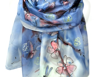 Hand Painted Blue Silk Scarf Bridal Wedding Gift Almond Tree Scarf Anniversary Birthday Gift for Her Genuine Silk Art. 18x71in MADE to ORDER