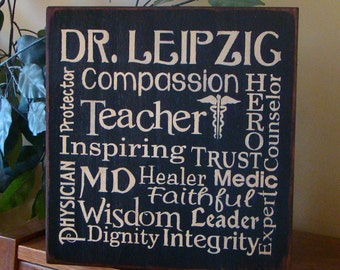 Personalized Doctor Physician Typography Wooden Primitive Sign