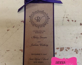 ELEGANT WEDDING PROGRAM - 5 pages to fit all your ceremony info!!! Layered with Ribbon, Rustic, Perfect for Wine Theme Look
