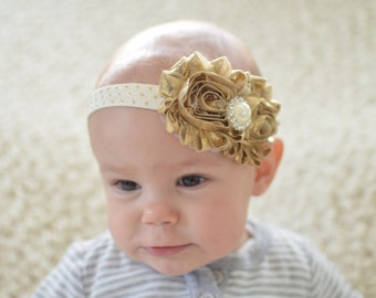 Gold And Ivory Holiday Baby headband, Infant headband, baby headbands, newborn headband, bow, newborn photo prop, baby girl headband,
