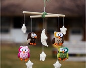 Night Owl crochet mobile - Nursery mobile - Crochet owl mobile - Baby crib mobile