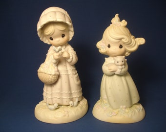 "1992 Precious Moments set of 2 ""You Are Such A Purr-fect Friend"" and ""The Lord Will Provide"" figurines,"