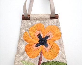 Mid Century Cabana straw, raffia woven handbag with flower & wooden handles