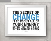 Divorce Gift for Her / Personal Growth CHANGE Inspirational Quote Print / Office Decor / Socrates / Gift for Friend // 5x7 / 8x10