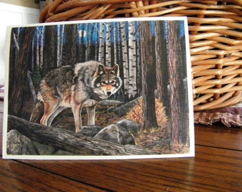 Wolf Art Card, Wildlife, Greeting Card, Nature Note Card, Blank card.