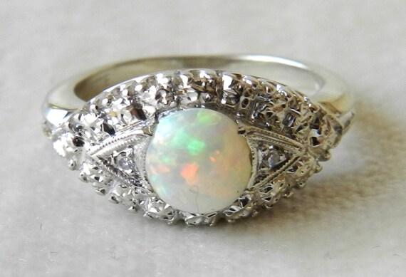 Opal Engagement Ring 14K White Gold Navette Art Deco Opal