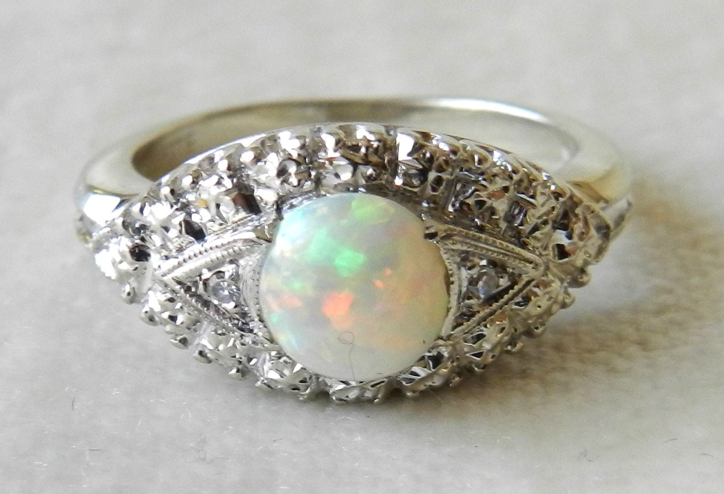 opal engagement ring 14k white gold navette deco opal