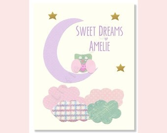 Baby Girl Nursery Prints, Nursery Art Prints, Owl Nursery, Baby Girl Wall Decor, Pastel Nursery Art, Purple Aqua Pink, Lavender, Good Night