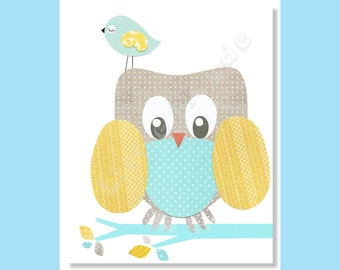 Baby Boy Nursery Prints, Owl Nursery Prints, Aqua Blue, Yellow Aqua Nursery, Zoo, Animals, Boy Wall Decor, Toddler Art, Kids Art, Bird