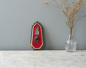 Vintage Madonna wall hanging. Mother Mary of Pompei on red velvet. Sacred image