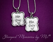 His One, His Only - The Original - Hand Stamped Couple Necklace Set - LGBT Jewelry - Great Gift for Gay Couples